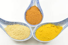 Spices. Spoons with colorful spices and fragrant Stock Photo