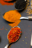 Spices on spoons Royalty Free Stock Photography