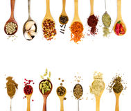 Spices in spoons isolated on white background. Top view Stock Photography