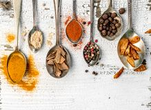 Spices in spoons on old wooden background Royalty Free Stock Photo
