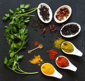 Spices in the spoons over a black stone. Table Stock Photos