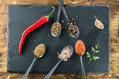 Spices in spoons and red pepper top view on the background of slate and wood. Top view Royalty Free Stock Photos