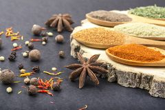 Spices in spoons royalty free stock photo