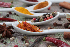 Spices in the spoons. On the wooden background Royalty Free Stock Photo