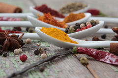Spices in the spoons. On the wooden background Stock Photo