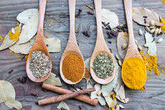 Spices in spoons on wooden table Royalty Free Stock Images