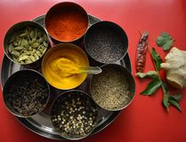 Spices in stainless-steel bowls along with herbs Stock Photos