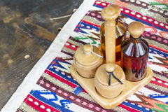 Spices on stand in bulgarian restaurant Royalty Free Stock Photography