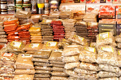 Spices stand in heraklion bazar Stock Photos