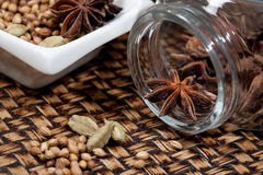 Spices, star anise, cardamom and coriander. Stock Photo