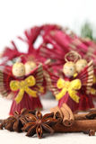 Spices with straw Christmas angels Royalty Free Stock Images