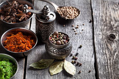 Spices at the table Royalty Free Stock Image