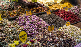 Spices, teas at the bazaar Stock Images