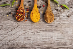 Spices in wooden spoons on wooden background  Stock Photos