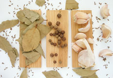 The spices - thyme, cumin and garlic. Allspice, pimento Royalty Free Stock Photography