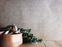 The spices - thyme, cumin and garlic. Allspice, pimento Stock Photo