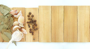 The spices - thyme, cumin and garlic. Allspice, pimento Royalty Free Stock Photo