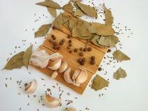 The spices - thyme, cumin and garlic. Allspice, pimento Stock Photos