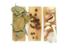 The spices - thyme, cumin and garlic. Allspice, pimento Stock Image