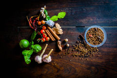 Spices to cook spicy Thailand rests on a wooden floor Royalty Free Stock Image