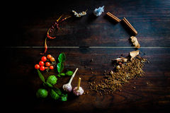 Spices to cook spicy Thailand rests on a wooden floor Stock Image