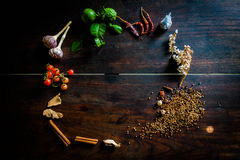 Spices to cook spicy Thailand rests on a wooden floor Royalty Free Stock Photo