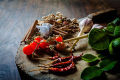 Spices to cook spicy Thailand rests on a wooden floor Royalty Free Stock Images