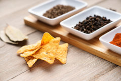 Spices and tortilla chips Stock Image