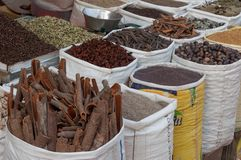 Spices on the traditional street market in India.  Stock Photo