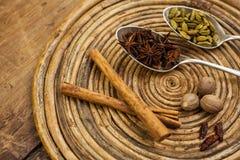 Spices on tray Stock Photos