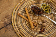 Spices on tray Stock Photography