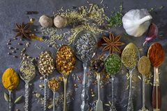 Spices used to add flavor to cooking. Spices on spoons - a selection of spices used to add flavor to cooking royalty free stock image