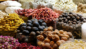 Spices. Variety of spices displayed in a Spice market, souq in Dubai Stock Photo