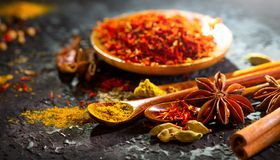 Spices. Various Indian spices on black stone table. Spice and herbs on slate background. Cooking ingredients. Flavours stock image