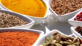 Spices. Various Indian. Spice and herbs rotate. Assortment of Seasonings, condiments. Cooking ingredients, flavor. 4K. Video Beautiful view stock video