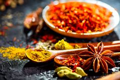 Spices. Various Indian spices on black stone table. Spice and herbs on slate background Stock Photos