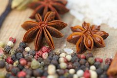 Various seasonings on wooden background. Spices. Various seasonings for cooking on wooden background Royalty Free Stock Photos