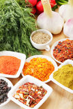 Spices and vegetables Royalty Free Stock Images