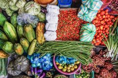 Spices, vegetables and fruits on the market royalty free stock photo