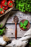 Spices and vegetables Stock Images