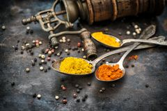 Spices vintage mill Curry turmeric red chili pepper Food backgro Stock Photo