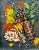 Spices vintage mill Food background Curry turmeric ginger bay le Royalty Free Stock Photography