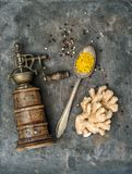 Spices vintage pepper mill Food background Stock Images