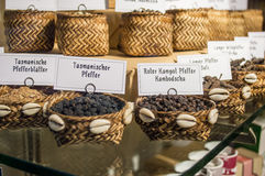 Spices in wattled basket Royalty Free Stock Photos