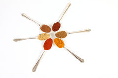 Spices On White. Six different ground spice powders in silver spoons on a white background Stock Photography