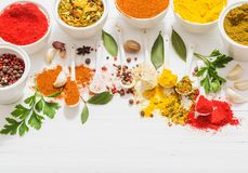 Spices on white background. The spices on white background Stock Image