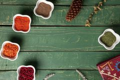 Spices in a white bowl royalty free stock image