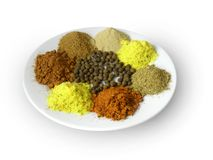 Spices on the white plate Stock Image