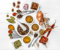 Spices on white wooden background Stock Images