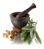 Spices With Mortar Stock Photos